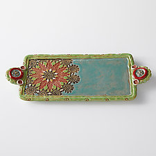 Natasha Button Handle Tray by Laurie Pollpeter Eskenazi (Ceramic Tray)