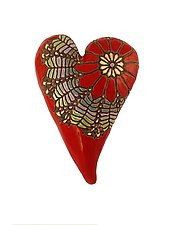 Daisy Heart in Red by Laurie Pollpeter Eskenazi (Ceramic Wall Sculpture)