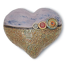 Annie's Little Fatty in Green by Laurie Pollpeter Eskenazi (Ceramic Wall Sculpture)