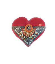 Black Eyed Susan in Red by Laurie Pollpeter Eskenazi (Ceramic Wall Sculpture)