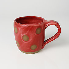 Stripe & Dot Mugs by Louise Bilodeau (Ceramic Mug)