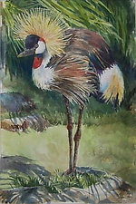 African Crowned Crane by Terrece Beesley (Watercolor Painting)