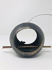 Orb Bird Feeder in Weathered Bronze by Cheryl Wolff (Ceramic Bird Feeder)