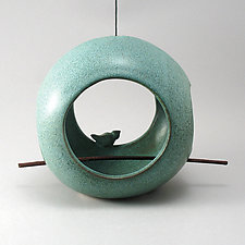 Round Bird Feeder in Patina by Cheryl Wolff (Ceramic Bird Feeder)