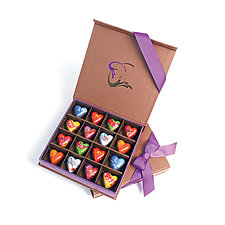 Heart Chocolates: 16-Piece Box by Infusion Chocolates (Artisanal Chocolate)