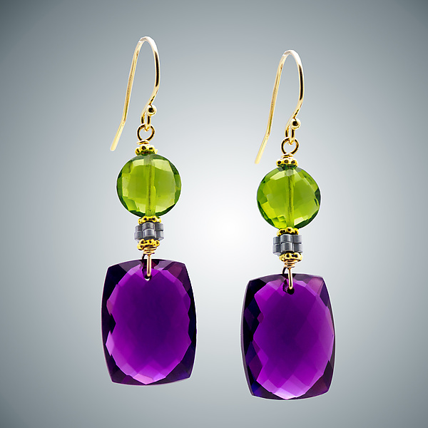Amethyst and Peridot Coin earrings