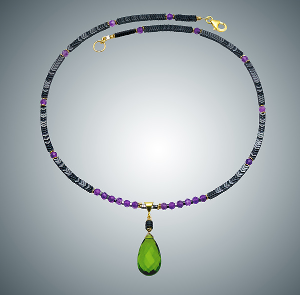 Hematite, Amethyst & Peridot Quartz Necklace