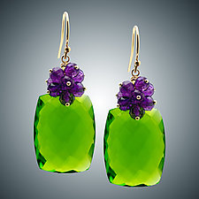 Amethyst Cluster and Peridot Quartz Earrings by Judy Bliss (Gold & Stone Earrings)