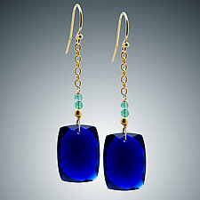 Blue Quartz and Aqua Quartz Earrings by Judy Bliss (Gold & Stone Earrings)