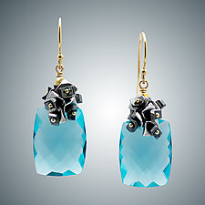 Aqua Quartz and Hematite Earrings by Judy Bliss (Gold & Stone Earrings)