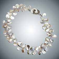 Freshwater Pearl and Sterling Silver Necklace by Judy Bliss (Silver & Stone Necklace)