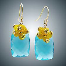 Aqua Quartz and Gold Quartz Earrings by Judy Bliss (Gold & Stone Earrings)