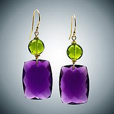 Amethyst & Peridot Coin Earrings by Judy Bliss (Gold & Stone Earrings)