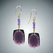 Mauve Quartz Earrings by Judy Bliss (Gold & Stone Earrings)