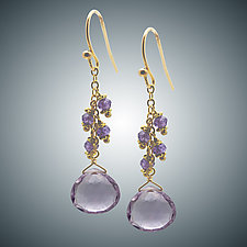 Pink Amethyst Earrings by Judy Bliss (Gold & Stone Earrings)