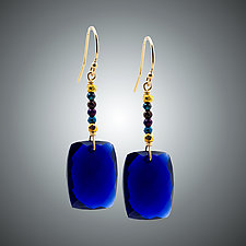 Blue Quartz and Pyrite Earrings by Judy Bliss (Gold & Stone Earrings)