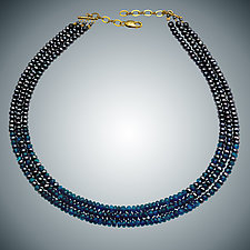 Apatite and Freshwater Pearl Necklace by Judy Bliss (Gold & Stone Necklace)