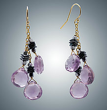 Pink Amethyst and Hematite Earrings by Judy Bliss (Gold & Stone Earrings)