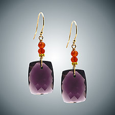 Mauve Quartz and Orange Cubic Zirconia Earrings by Judy Bliss (Gold & Stone Earrings)