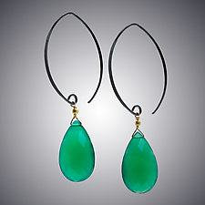 Green Onyx and Sterling Earrings by Judy Bliss (Silver & Stone Earrings)