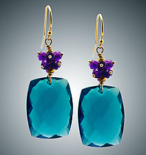 London Blue Quartz and Amethyst Cluster Earrings II by Judy Bliss (Gold & Stone Earrings)