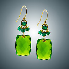 Peridot Quartz and Green Quartz Earrings by Judy Bliss (Gold & Stone Earrings)
