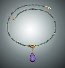 Green Vassonite and Amethyst Necklace by Judy Bliss (Gold & Stone Necklace)