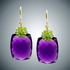 Amethyst and Peridot Cluster Earrings by Judy Bliss (Gold & Stone Earrings)