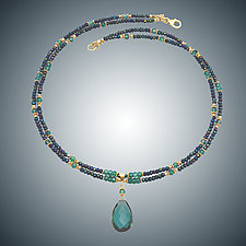 Vassonite and Green Pyrite Necklace by Judy Bliss (Gold & Stone Necklace)