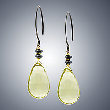 Yellow Quartz and Silver Earrings by Judy Bliss (Silver & Stone Earrings)
