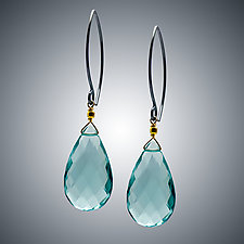 Aqua Quartz and Silver Earrings by Judy Bliss (Silver & Stone Earrings)