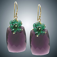 Mauve Quartz and Green Quartz Earrings by Judy Bliss (Gold & Stone Earrings)