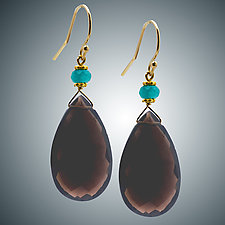 Topaz and Aqua Quartz Earrings by Judy Bliss (Gold & Stone Earrings)