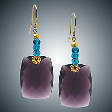 Mauve Quartz and Blue Quartz Earrings by Judy Bliss (Gold & Stone Earrings)