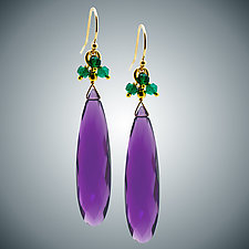 Long Amethyst and Green Onyx Earrings by Judy Bliss (Gold & Stone Earrings)