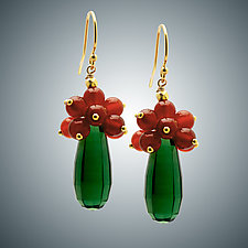 Vassonite and Carnelian Earrings by Judy Bliss (Gold & Stone Earrings)