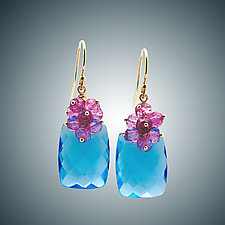 Pink Quartz and Light Blue Quartz Cluster Earrings by Judy Bliss (Gold & Stone Earrings)