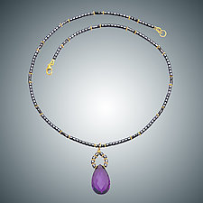 Amethyst and Hematite Necklace by Judy Bliss (Gold & Stone Necklace)