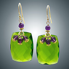 Amethyst and Peridot Quartz Earrings by Judy Bliss (Gold & Stone Earrings)