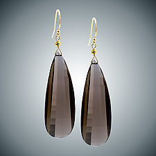 Smokey Quartz Batwing Earrings by Judy Bliss (Gold & Stone Earrings)