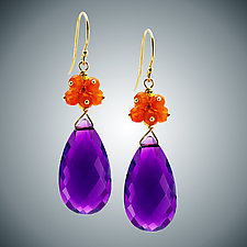 Amethyst Teardrop and Carnelian Earrings by Judy Bliss (Gold & Stone Earrings)