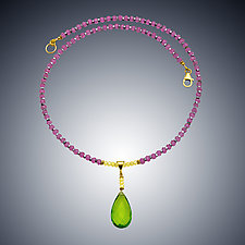 Peridot Quartz and Pink Quartz Necklace by Judy Bliss (Gold & Stone Necklace)
