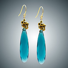 London Blue Pendant and Pyrite Earrings by Judy Bliss (Gold & Stone Earrings)