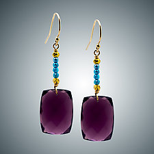 Mauve Quartz and Corundum Earrings by Judy Bliss (Gold & Stone Earrings)