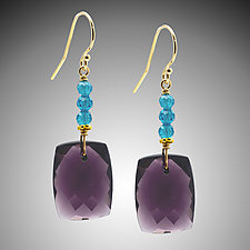 Mauve Quartz and Aqua Cubic Zirconia Earrings by Judy Bliss (Gold & Stone Earrings)