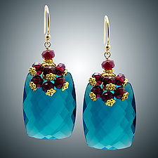 Garnet and London Blue Quartz Earrings by Judy Bliss (Gold & Stone Earrings)