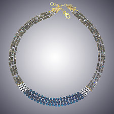 Labradorite and Blue Quartz Necklace by Judy Bliss (Gold & Stone Necklace)