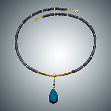 London Blue Quartz Teardrop and Hematite Necklace by Judy Bliss (Gold & Stone Necklace)