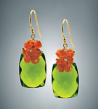 Peridot Quartz and Carnelian Earrings by Judy Bliss (Gold & Stone Earrings)