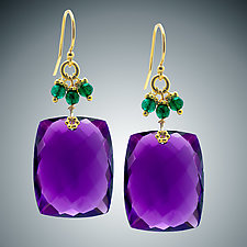Amethyst and Green Onyx Earrings by Judy Bliss (Gold & Stone Earrings)